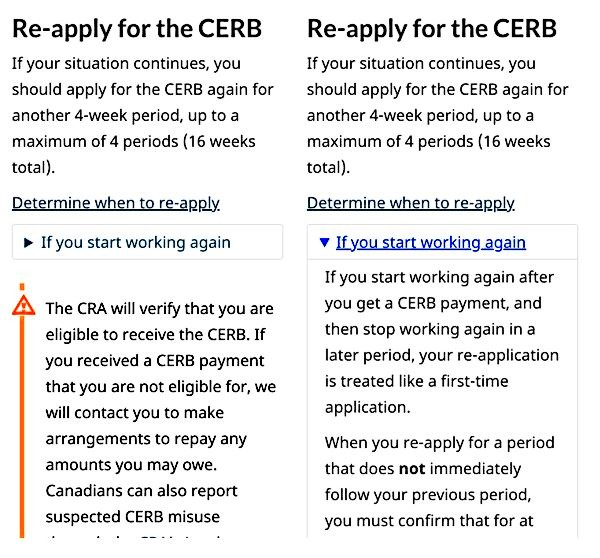 Content about re-applying for CERB includes an expand/collapse pattern for 'If you start working again.' The second image shows the pattern expanded to display content for people who stop working and then start again during a later benefit period.