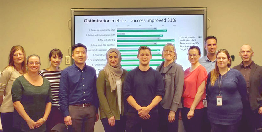 Photo of 11 people standing in front of a screen showing success improvement data.