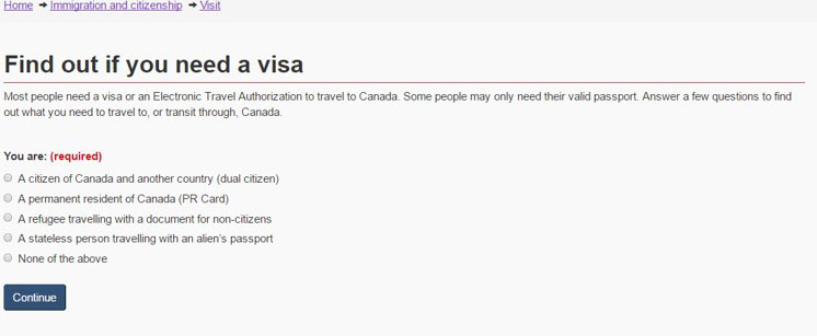 Image showing what the 'Find out if you need a visa page' looked like after optimization